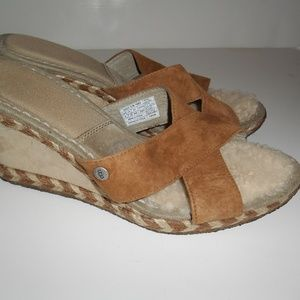 UGG Leather Slip On Wedge Shoes Size 9 Womens